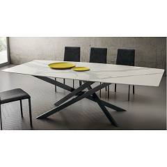 La Primavera Renzo Fixed / extendable table - metal frame with hpl top | fenix | laminam | wood | glass