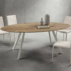 La Primavera Nicola Fixed table - metal frame with stratified hpl top | layered fenix | wood | laminam