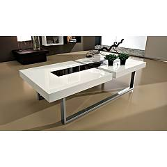 La Primavera Julie Fixed coffee table - legs in chromed painted metal and top in white wood with central glass insert