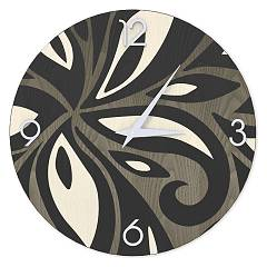 Lignis Dolcevita Abstract Flowers Design wall clock 40 cm - wood