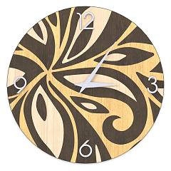 Lignis Dolcevita Abstract Flowers Design wall clock 50 cm - wood