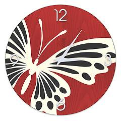 Lignis Dolcevita Animalier Butterfly Design wall clock 40 cm - wood
