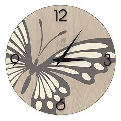 Lignis Dolcevita Animalier Butterfly Design wall clock 50 cm - wood