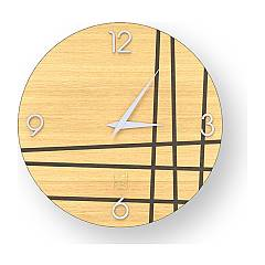 Lignis Dolcevita Lines Two Design wall clock 40 cm - wood Warm
