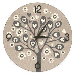 Lignis Dolcevita Love Tree Of Hearts Design wall clock 50 cm - wood Cold