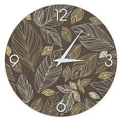 Lignis Dolcevita Nature Leaves Design wall clock 50 cm - wood Warm