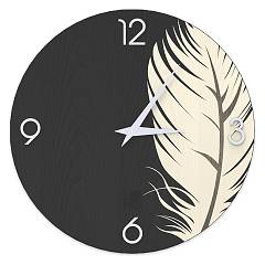 Lignis Dolcevita Nature Plume Design wall clock 50 cm - wood Cold