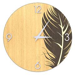 Lignis Dolcevita Nature Plume Design wall clock 50 cm - wood Warm