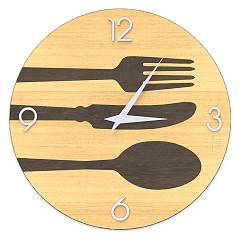 Lignis Dolcevita Objects Cutlery Design wall clock 50 cm - wood Warm
