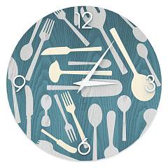 Lignis Dolcevita Objects Kitchentools Design wall clock 50 cm - wood Colors