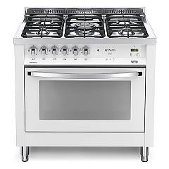 Lofra Pbpg 96mft/c Kitchen from accosto cm. 90 x 60 - white pearl 5 fires + 1 electric oven Rainbow