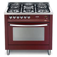 Lofra Prg 96gvt/c Kitchen from accosto cm. 90 x 60 - red burgundy 5 fires + 1 gas oven Rainbow