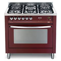 Lofra Prg 96mft/c Kitchen from accosto cm. 90 x 60 - red burgundy 5 fires + 1 electric oven Rainbow