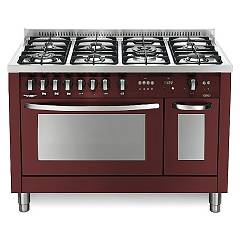 Lofra Prd126gv+e/2ci Kitchen from accosto cm. 120 x 60 - red burgundy 7 fires + 2 electric and gas ovens Special