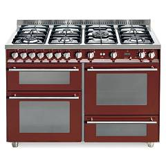Lofra Pr126smfe+mf/2ci Kitchen from accosto cm. 120 x 60 - red burgundy 7 fires + 3 electric ovens Special