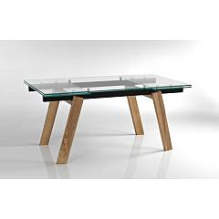 Max Home Yuri Extendable table in solid wood and glass top