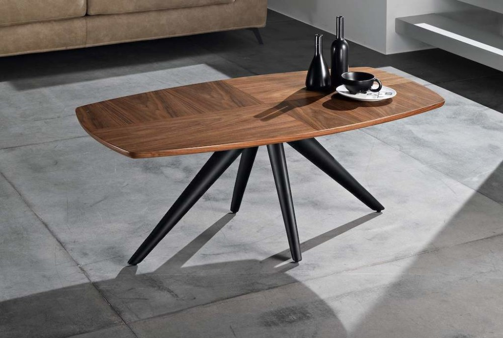 Tod coffee table with metal frame and wooden top