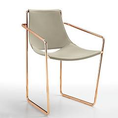 Midj Apelle P Chair in metal and leather