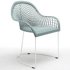 Midj Guapa P Armchair in metal and leather