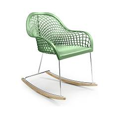 Midj Guapa Dnb A rocking chair in metal and leather