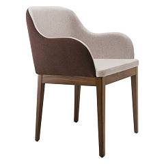 Midj Marilyn P-lg Chair in wood and fabric / eco-leather / leather