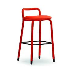 Midj Pippi Fixed stool covered with fabric faux leather and metal feet