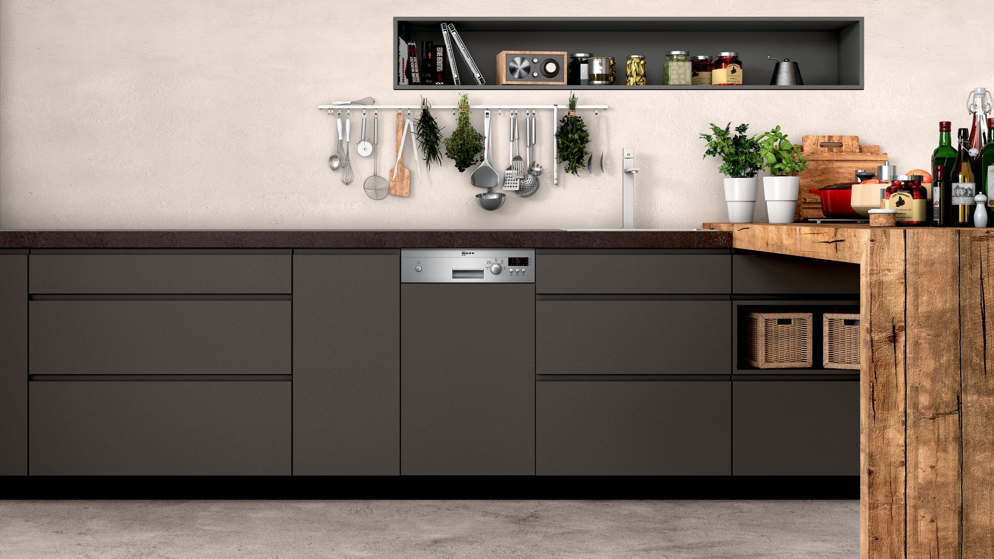 Photos 4: Neff Built-in dishwasher cm. 45 - 9 partial integrated cover S481C50S3E