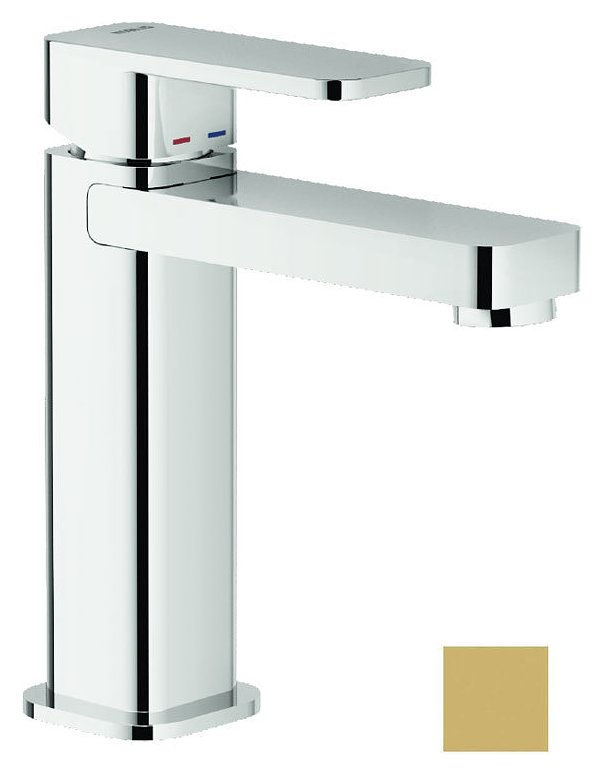 Photos 1: Nobili LP90118/2GM Loop Single lever washbasin mixer without drain - champagne