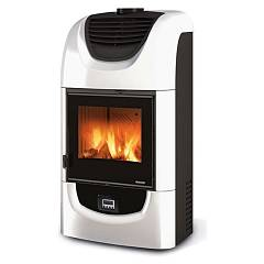 sale Nordica Wanda Evo Wood-burning Stove, Hot Air Is Canalized 9 Kw - White Infinity Tiled Coating