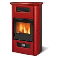 Nordica Wanda Classic Evo Wood stove hot air canalized 9 kw - bordeaux majolica coating