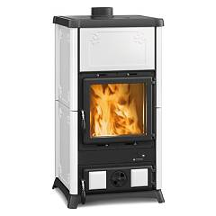 sale Nordica Fedora Wood-burning Stove, Hot Air Natural Convection 8 Kw - White Infinity Tiled Coating