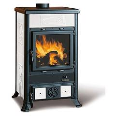 Nordica Rossella R1 Bii Wood stove hot air natural convection 9 kw - white infinity liberty majolica coating