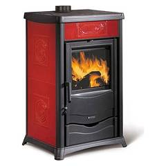 Nordica Termorossella Plus Evo Dsa Wood heating stove for water heating 13 kw - bordeaux majolica coating Termostufe