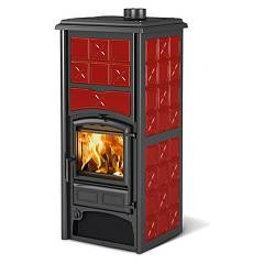 Nordica Loriet S Dsa Wood heating stove for water heating 17 kw - bordeaux majolica coating Termostufe