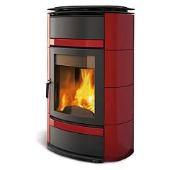 Nordica Norma S Idro Dsa Wood heating stove for water heating 20 kw - bordeaux majolica coating Termostufe