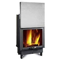 Nordica Termocamino 650 Piano Wood burning fireplace for water heating 21 kw steel lining Termocamini