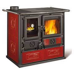 Nordica Rosa Sinistra Reverse Wood stove hot air natural convection 8 kw - bordeaux liberty tiled coating Rosa Reverse