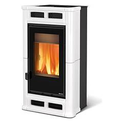 sale Nordica Flo Wood Burning Stove Hot Air Ventilated 8 Kw - White Infinity Tiled Coating