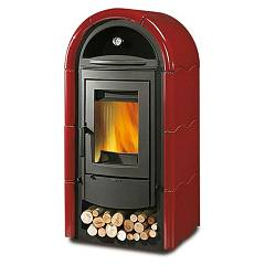 sale Nordica Stefany Forno Bii Wood-burning Stove, Hot Air Natural Convection 11 Kw - Bordeaux Tiled Coating