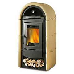 Nordica Stefany Forno Bii Wood stove hot air natural convection 11 kw - pergamena majolica coating