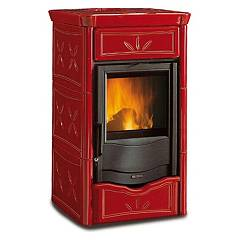 Nordica Nicoletta Wood stove hot air natural convection 8 kw - bordeaux majolica coating