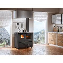 Photos 2: Nordica FAMILY 4,5 Wood cooking hot air natural convection 7.5 kw anthracite black - porcelain steel coating