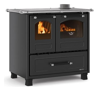 Photos 1: Nordica FAMILY 4,5 Wood cooking hot air natural convection 7.5 kw anthracite black - porcelain steel coating