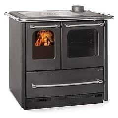 Nordica Sovrana Easy Evo Wood stove hot air natural convection 9.0 kw anthracite black - porcelain steel coating