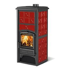 Nordica Loriet S Dsa - Bordeaux Wood heating stove 16.8 kw - 10.5 kw-h₂o - 481 m³ heated - bordeaux - majolica coating
