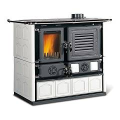 Nordica Mariarosa - Maiolica Bianco Infinity Cast iron wood stove with storage - 8.6 kw - 246 m³ heated - enamelled cast iron
