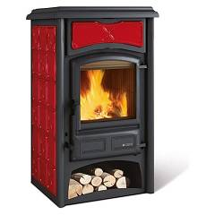Nordica Gisella Wood stove hot air natural convection 8 kw - bordeaux majolica coating