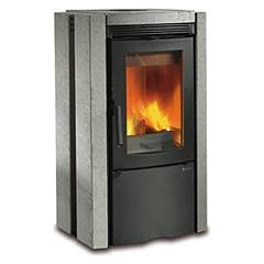 Nordica Ester Bii Wood stove hot air natural convection 7.5 kw - natural stone cladding in natural stone