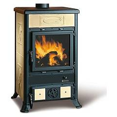 Nordica Rossella R1 Bii Wood stove hot air natural convection 9 kw - antique liberty parchment majolica coating