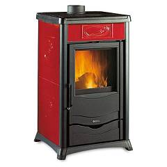 Nordica Rossella Plus Wood stove hot air natural convection 8 kw - bordeaux liberty majolica coating